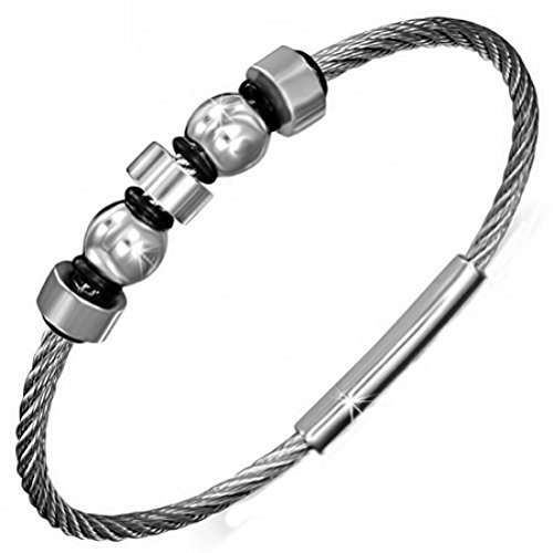 """Stainless Steel Two Tone Screw Ring Twisted Cable Wire Mens Bracelet - 8"""""""