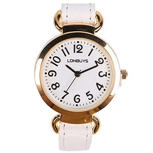 - LONBUYS Women Wrist Watch Business Casual Analogous White Classic Watches Quartz Waterproof Watch IP Rose Gold Leather Band Watch for Girl Women