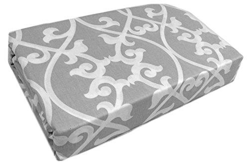 Max Studio 3pc King / California King Duvet Cover Set Damask Medallion Floral Scrolls Lattice Gray White Grey