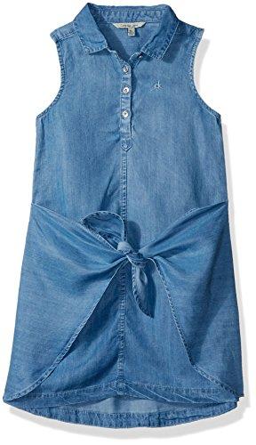 Calvin Klein Big Girls' Sleeveless Denim Dress, Bella Blue Large (12/14)