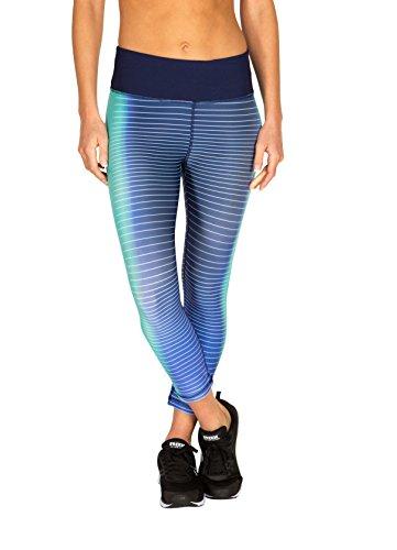 RBX Active Women's Stripes & Streaks Printed Capri Navy/Aqua XL