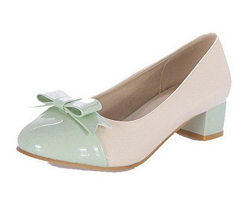 fa3c4238bd9c6b VogueZone009 Damen Niedriger Absatz Gemischte Farbe Ziehen auf Lackleder  Rund Zehe Pumps Schuhe Grün