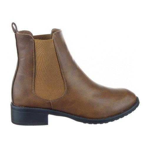 Sopily - Scarpe da Moda Stivaletti - Scarponcini Low Boots Alti donna Tacco a blocco 3.5 CM - Marrone