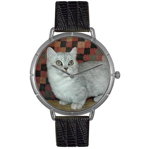 Whimsical Watches Women's T0120047 Munchkin Cat Black Leather And Silvertone Photo - Miniatures Munchkin