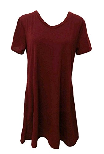Women Basic Red Mini Sleeves Wine Line A Fashional Pocket Coolred Short Relaxed Dresses 60qdxw07