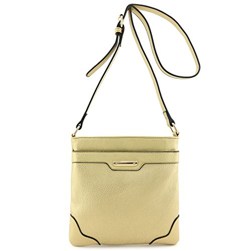 Plate Gold Medium Gold Classic Solid Bag with Crossbody Size Modern gq86g