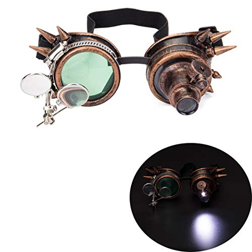 Steampunk Goggles with Rainbow Crystal Glass Lens Kaleidoscope Goggles Perfect for Halloween,Cosplay,Photo Prop,Outdoor Sports