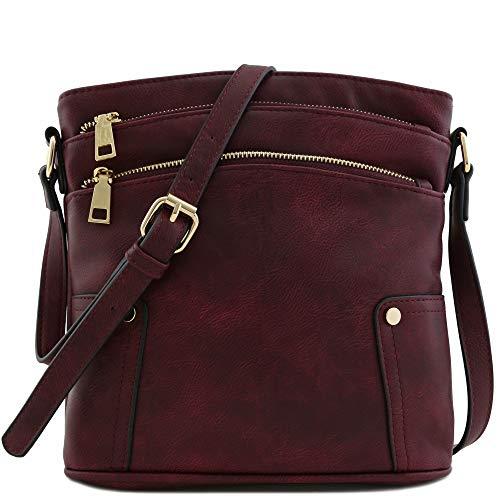 Triple Zip Pocket Medium Crossbody Bag (Wine)