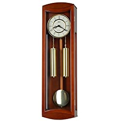 30-inch Solid Wood Chestnut Pendulum Wall Clock with Hourly Westminster Chime and Strike, Night off - P00053
