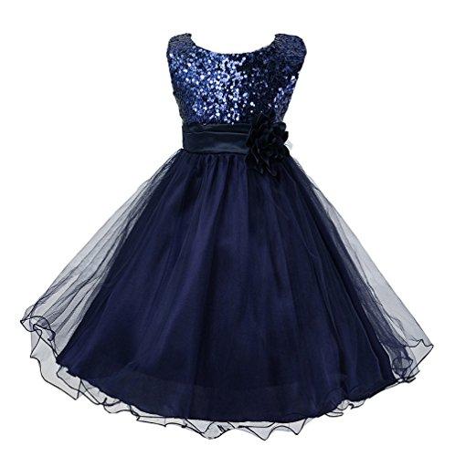 - Wocau Little Girls' Sequin Mesh Tull Dress Sleeveless Flower Party Ball Gown (160(8-9 Years), Dark Blue)