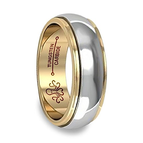 Oceanus Tungsten Mens Wedding Band 18K Gold Plated Ring 6mm or 8mm