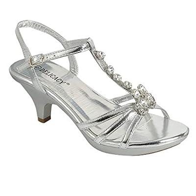 Delicacy Angel-62 Womens Strappy Rhinestone Dress Sandal Low Heel Shoes,Silver_T Strap,10