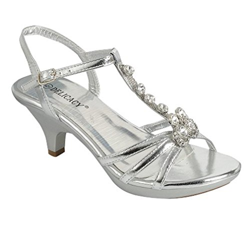 - Delicacy Angel-62 Womens Strappy Rhinestone Dress Sandal Low Heel Shoes,Silver_T Strap,6.5