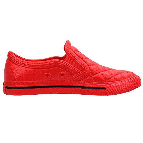 Red Waterproof Flat Cooga On Slip Garden Shoe Ultralight Comfy Walking Women's a44vq
