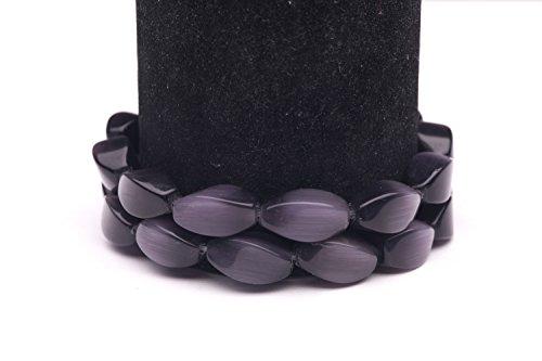(Black Cat's Eye Beads Twisted Oval Fiber Optic Glass Beads 15mm )