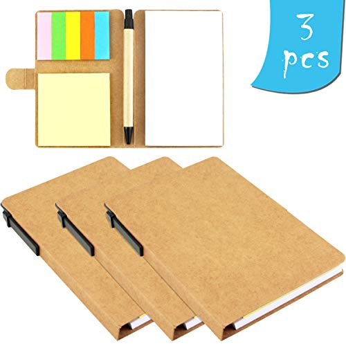 BcPowr Pack of 3 Multi-function Sticky Notes Flag Set Kraft Paper Notebook With Index Tabs Page Flags Neon Color Notepad With Pen in Holder and Sticky Notes, Page Marker Colored Index Tabs Flags