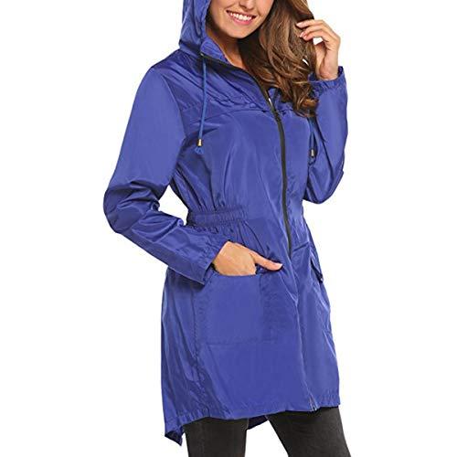 excursión ZFFde bolsillo Azul tamaño mujeres va libre de con de Chaqueta Invierno que larga de de las larga Chaqueta aire capucha Color lluvia la manga S impermeable de al SparxSqF