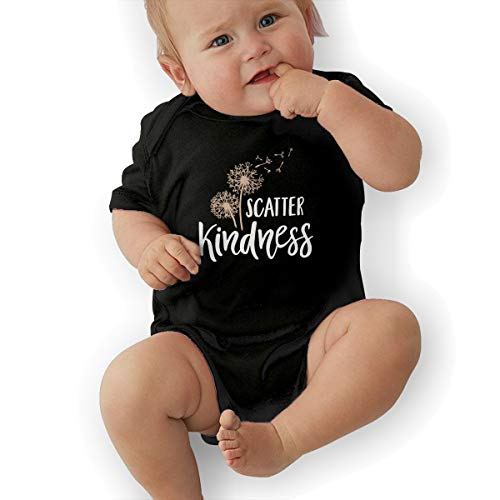JJKKFG-H Scatter Kindness Cute Summer Newborn Infant Baby Girls Boys Short Sleeve Playsuit Outfit Clothes Onesies Shirt Black