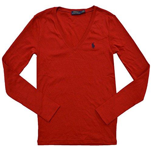 Polo Ralph Lauren Womens Perfect V Neck T-Shirt (Medium, Red)