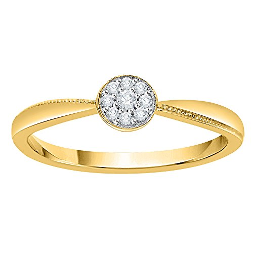 Diamond Cluster Engagement Ring in 10K Yellow Gold (1/20 cttw) (GH Color, I2-I3 Clarity) (Size-11)