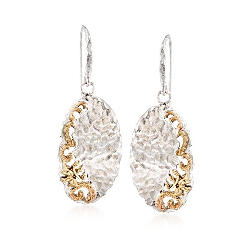 Ross-Simons Sterling Silver and 14kt Yellow Gold Hammered Scrollwork (Yellow Gold Hammered Earrings)