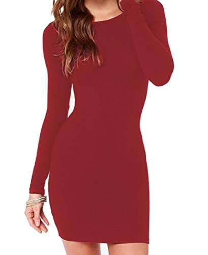 Bodycon Dress Red Solid Sleeve Classic Comfy Women Length Mid Long Sexy vfxYx