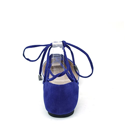 Ballet New Lace Brieten Flat Toe Shoes Pointy Comfort Navy up Womens Strap Ankle xwZB1fq