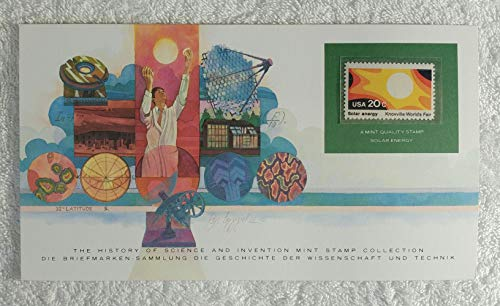 - Solar Energy - Postage Stamp (United States, 1982) & Art Panel - The History of Science & Invention - Franklin Mint (Limited Edition, 1986) - Knoxville World's Fair, Solar Electricity, Solar Heating & Cooling