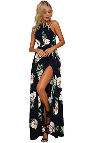 "1732533335 sandals EBBiE Zow Boho Floral Print Halter Sleeveless Split Summer Maxi  Dress Plus Size for Women. """
