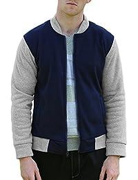 Allegra K Men Color Block Stand Collar Zipper Front Cozy Outdoor Varsity Jacket