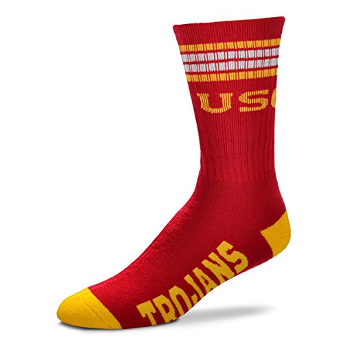 For Bare Feet Mens NCAA 4 Stripe Deuce Crew Socks, USC Trojans, Large