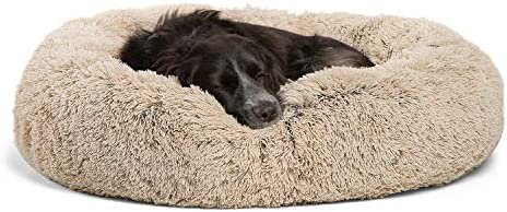 """Best Friends through Sheri The Original Calming Donut Cat and Dog Bed in Shag Fur, Machine Washable, Removable Zippered Shell, for Pets as much as 45 lbs - Medium 30""""x30"""" in Taupe"""