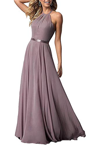 Bridesmaid Dresses Long Halter Aline Chiffon Prom Party Gown 2019 Formal Women Dusty Rose 2