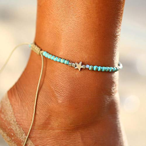 Flip Flop Anklet - Fangsen Bohemian Wax Rope Turquoise Star Beaded Anklet Jewelry Anklet Chain Foot for Women and Girls Brown