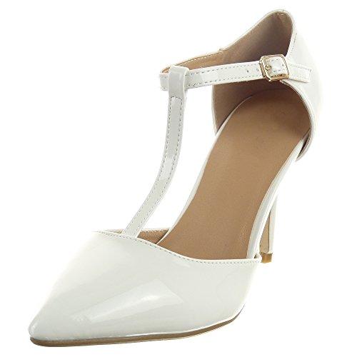 Mulheres Bombear Da gloss Moda fecho Branco T Sapatos Das Sopily Estilete w4AqIPIx