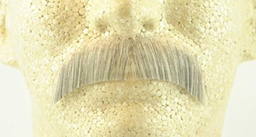 Basic Character Moustache LIGHT GREY - 100% Human Hair - Spirit Gum Included - no. 2015 - REALISTIC! Perfect for Theater - Reusable!
