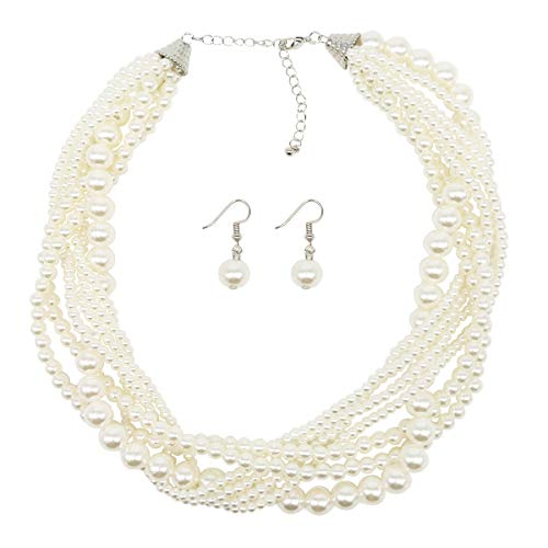 MeliMe Faux Big White Red Pearl Choker Necklaces Flapper Beads Wedding Jewelry for Women Mother (White- Twisted ()