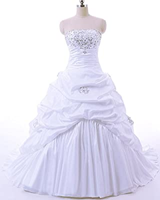 Vantexi Women's Strapless A-line Wedding Dress Bridal Gown