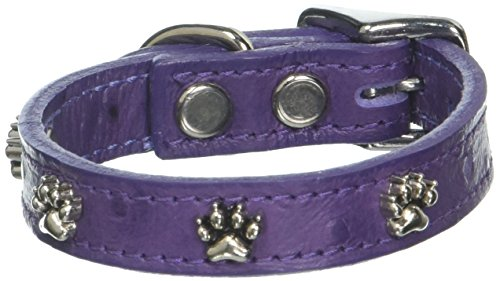 OmniPet Faux Ostrich Signature Leather Dog Collar with Paw Ornaments, African Violet, 10