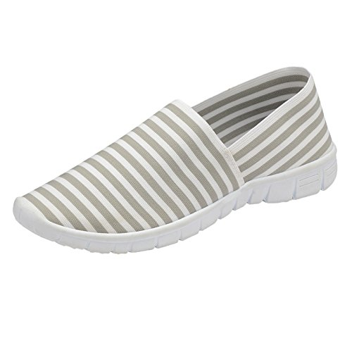 On Pumps Slip Espadrille Ladies Plimsoll White Walking Grey Stripe Athletic Striped Memory Canvas Foam Trueboy Elastic Trainer zItxwRR4