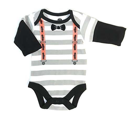 Outfit Up Dress (Assorted Witch, Pumpkin, Cat, Skeleton, Ghost Baby Boys & Girls Halloween Long Sleeve Bodysuit Dress Up Outfit (0-3 Months, Suspenders &)