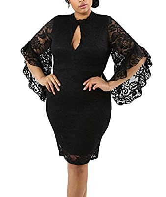 Lalagen Women Plus Size Lace Flare Bell Sleeves Bodycon Cocktail Party Dress