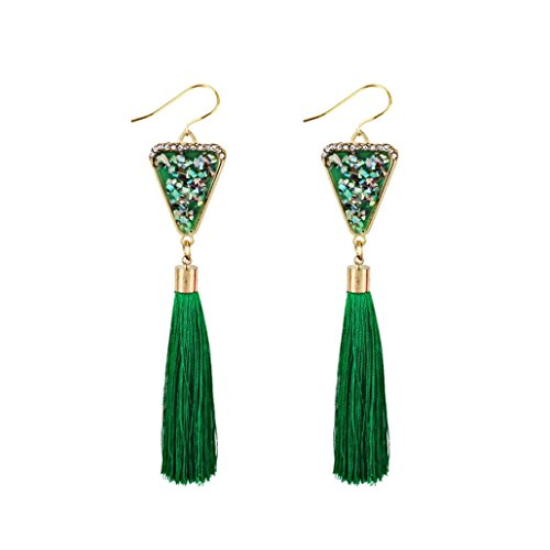 ethez 11.5cm Bohemian Tassel Fringe Dangle Earring Ethnic Triangle Ear Stud Drop Earrings (Green) ()