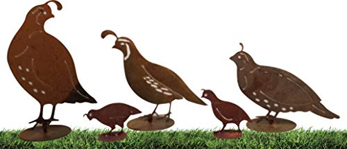 California Home and Garden CH351Z Metal Rustic Family California Quails Silhouettes on Bases, Look Artwork, (Set of 5), Brownish Red