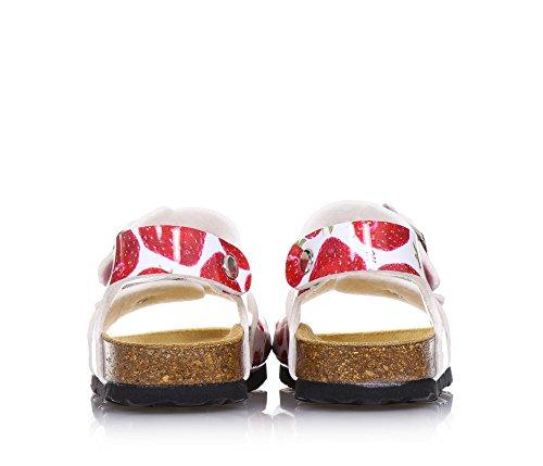 MONNALISA - Mehrfarbige Sandale aus Kunstleder, romantisch und spaßig, mit Schnallenverschluss, dekorative Drücke, Madchen