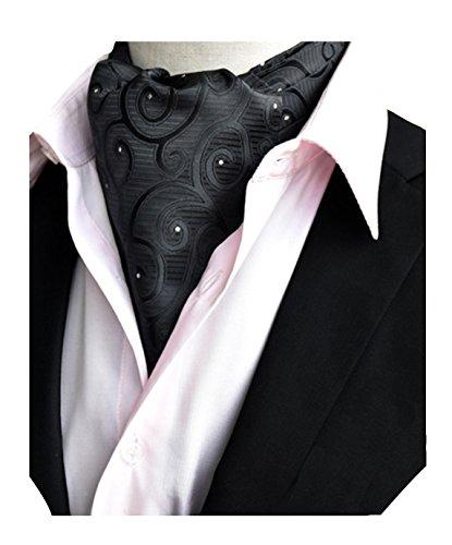 MENDENG Men's Black White Paisley Jacquard Woven Silk Self Cravat Neckties Ascot