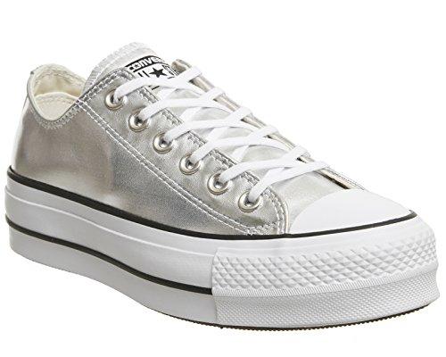 5a66bf3d52b5 Converse Women s Chuck Taylor All Star Lift Ox Silver Black White Casual  Shoe 9