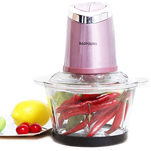 VEZARON Stainless Meat Grinders Electric Food Processor,Mini Kitchen Food Chopper Vegetable Fruit Cutter Onion Slicer Dicer, Blender and Mincer, with Glass Bowl (A, Pink)
