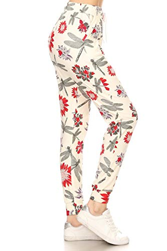 (Leggings Depot JGA-R587-XL Dragonfly Garden Print Jogger Track Pants w/Pockets, X-Large)