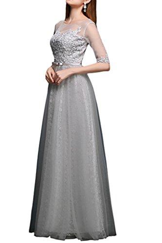 La_Marie Braut Romantisch Silber Grau Lang 3/4 Aermel Spitze Abendkleider Abiballkleider Promkleider A-linie Rock